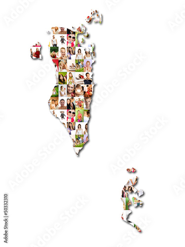 Portrait of a lot of people - map of bahrain