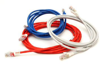 Multi colored computer network cables with clipping path