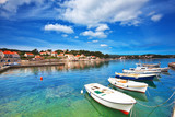 boats in marina of Lumbarda, Croatia