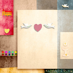 holy communion invitation cute doves and heart