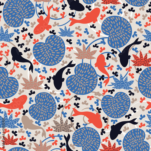 Pond with fishes. Seamless pattern