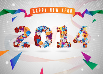 Happy New Year 2014 geometric abstract greeting card