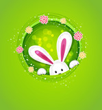 vector easter bunny peeking out of a hole