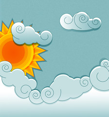 vector vintage background with sun and clouds