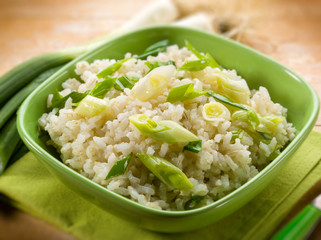 risotto with leek, selective focus