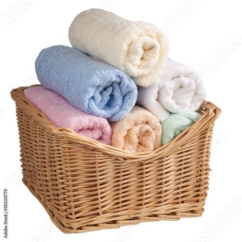 Fluffy towels in a basket.