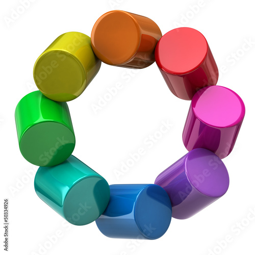 Color wheel made of colorful cylinders