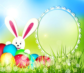 vector easter background with frame for text, rabbit and eggs
