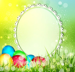 vector easter background with frame for text,  and eggs