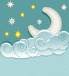 vector vintage background with the moon, clouds and stars