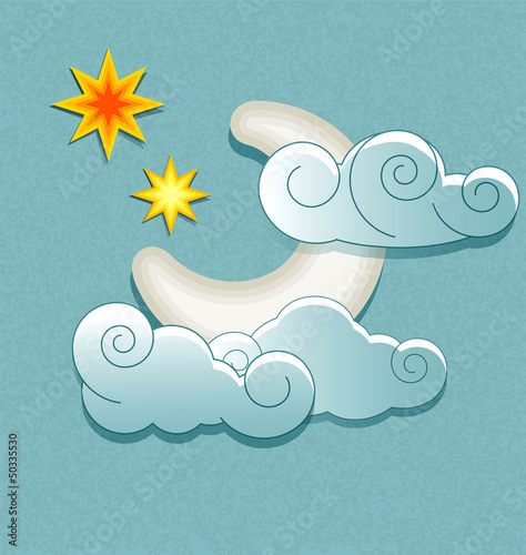 Vector weather icons in retro style. Moon behind the clouds and