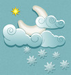Vector weather icons in retro style. Moon in the clouds with sta