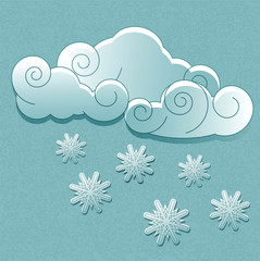 Vector weather icons in retro style. Clouds with snowflakes