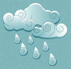 weather icons in retro style. Cloud with rain drops