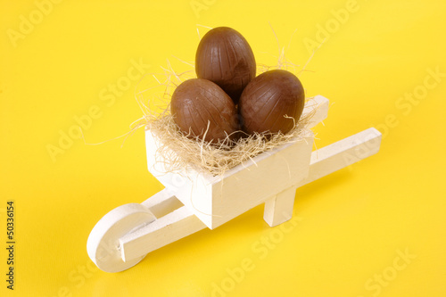 Easter egg white pushcart