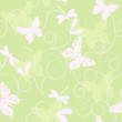 green seamless pattern with butterflies