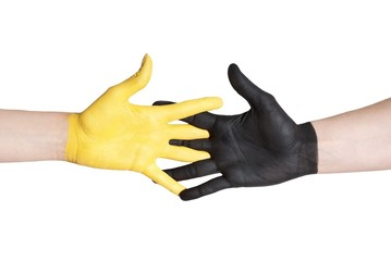 black and yellowe hand helping each other