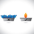 Selection(hiring) and rejection of employees, workers or staff.