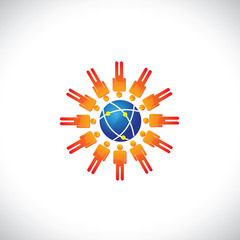 Illustration of community of people with a center globe icon. Th