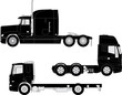 Vector detailed trucks silhouettes set