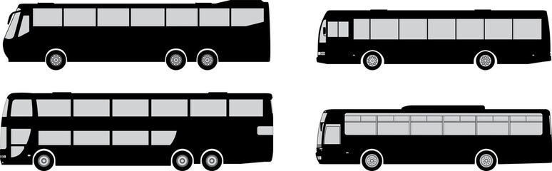 vector set of bus silhouettes