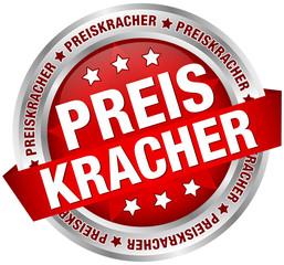 """Button Banner """"Preiskracher"""" Rot/silber"""