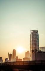 Vintage sunset Bangkok cityscape, Thailand