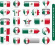 MEXICAN FLAG ICON SET (mexico soccer football button stamp)