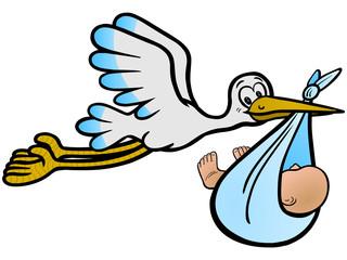 Der Storch bringt einen Jungen – Vektor und freigestellt