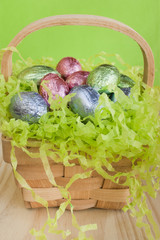 Easter chocolate eggs in a basket.