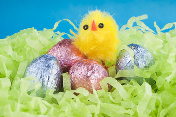 Easter chocolate eggs and a yellow chicken.