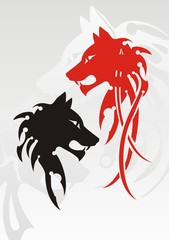 Tribal wolf head tattoo on the gray. Red and black variants