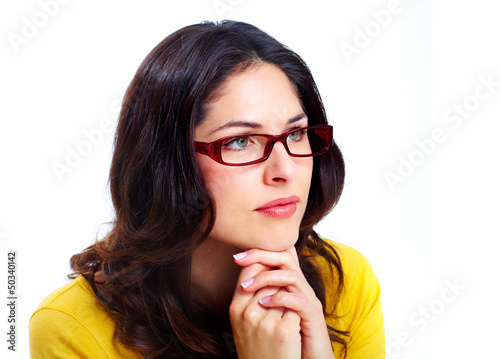 Beautiful young woman wearing glasses.