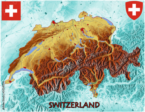 Switzerland Europe national emblem map symbol motto