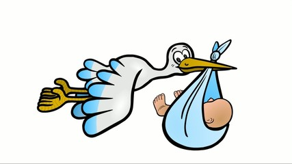 Der Storch bringt einen Jungen – als Loop abspielbar