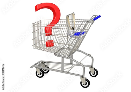 Question mark in shopping cart