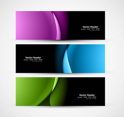 Abstract shiny header colorful wave whit vector