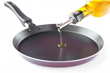 Olive oil in bottel pour on black pan