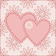 two valentines sewed with button vector illustration
