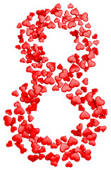 digit eight consisting of red hearts for March 8
