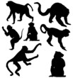 seven isolated monkey silhouettes