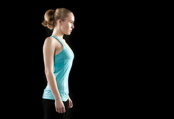 young healthy caucasian woman sweating during a fitness workout