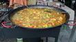 Healthy diet food vegetable stew huge pan outdoor street event