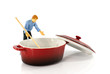 puppet man stirring in empty saucepan