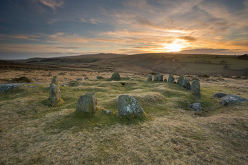 Sunset over Nine Maidens Belstone Dartmoor.