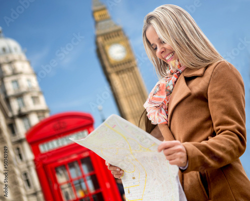 Woman traveling to London