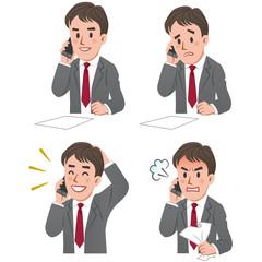 ビジネスマン 表情 電話