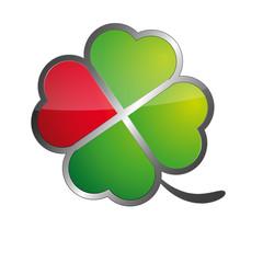 Red Four leaf clover