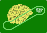 social media concept: human brain on an up escalator,vector
