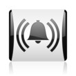 alarm black and white square web glossy icon